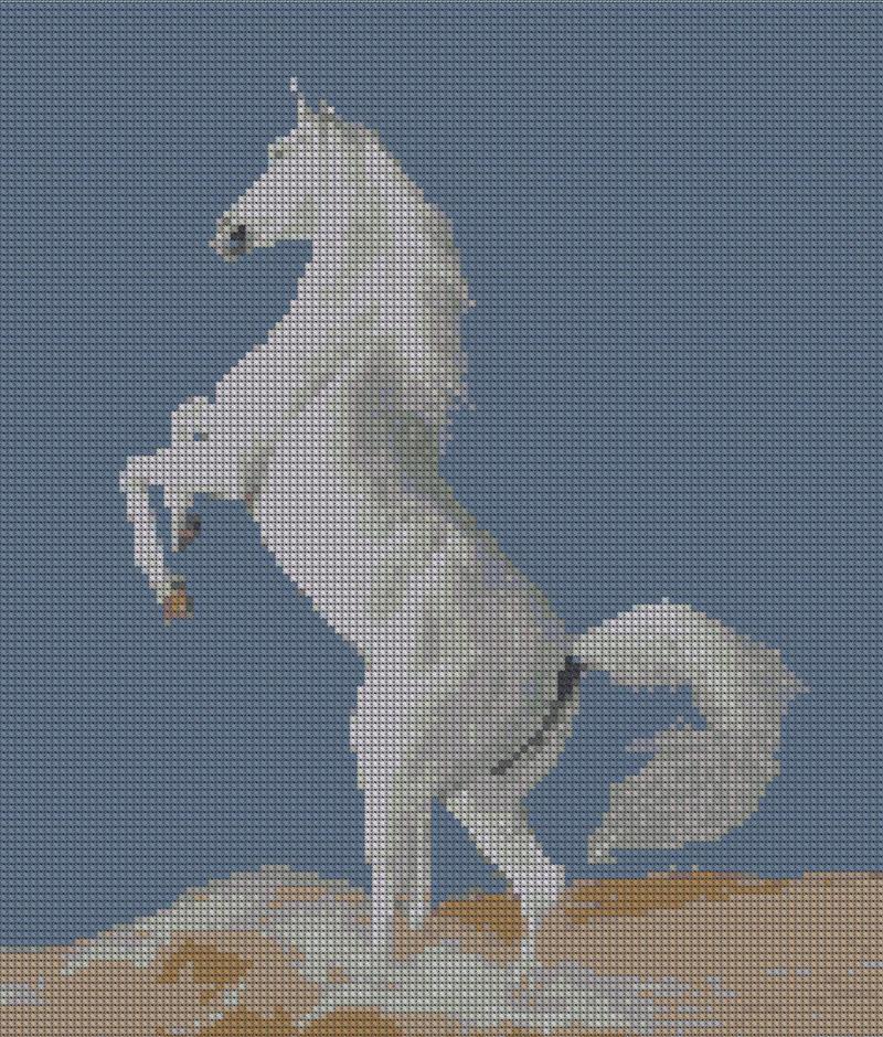 Вышивка Белый конь