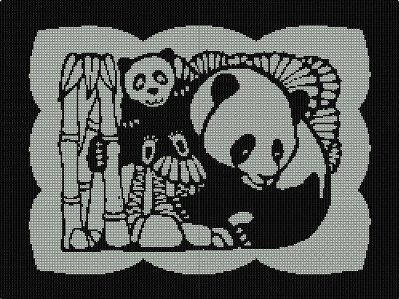 Образец вышивки Мишки панды и