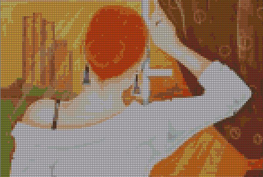 Вышивка Девушка у окна