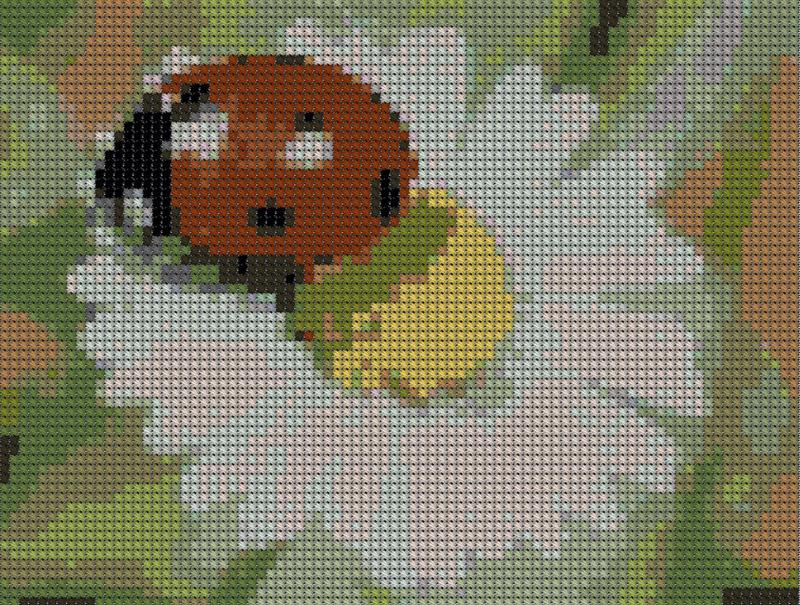 Вышивка бисером ромашки и божьи коровки