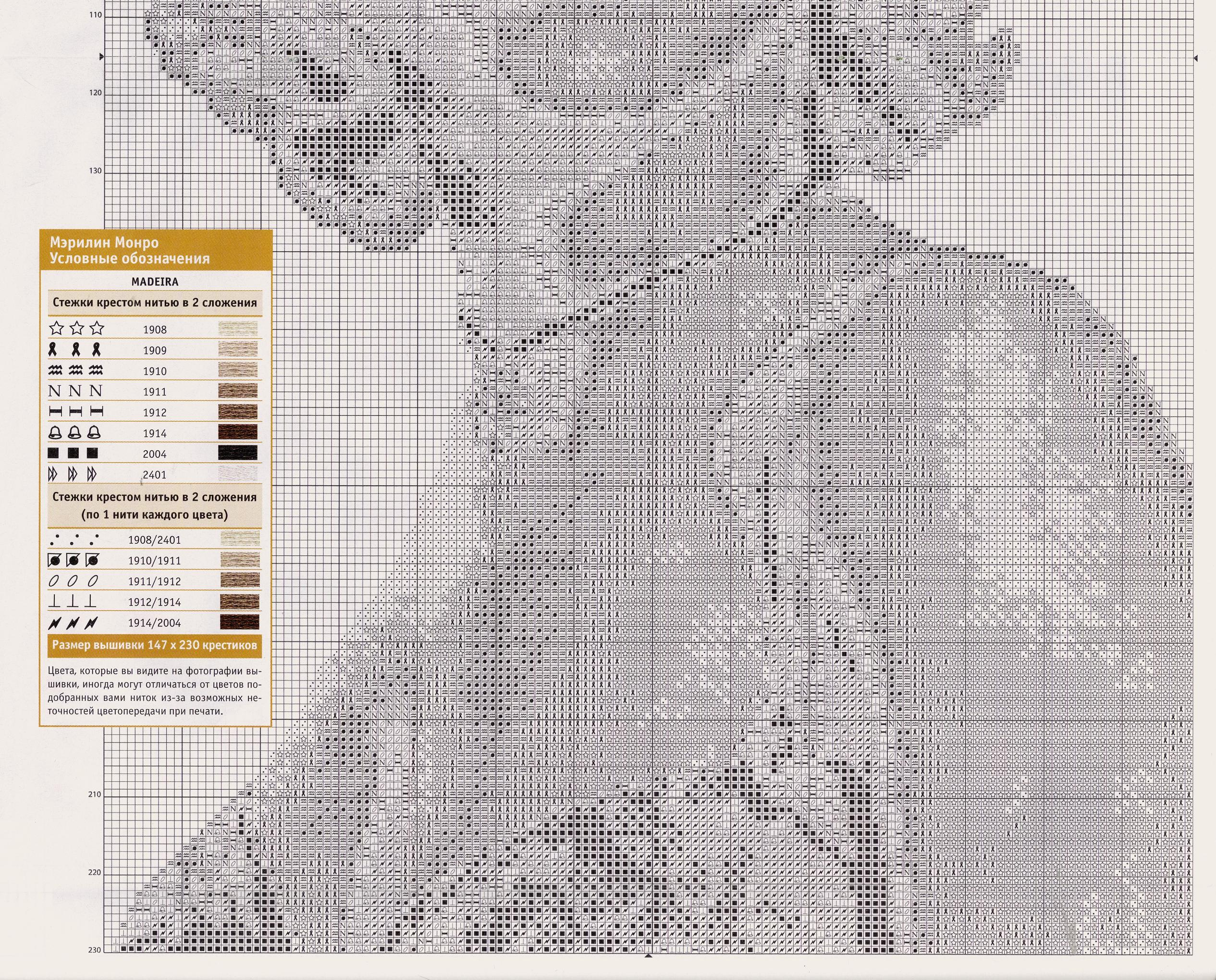 Схема вышивки мерлин монро крестом