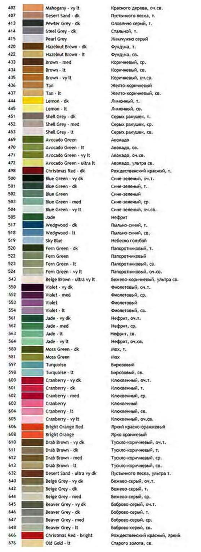 Палитра цветов с названиями цветов на русском языке