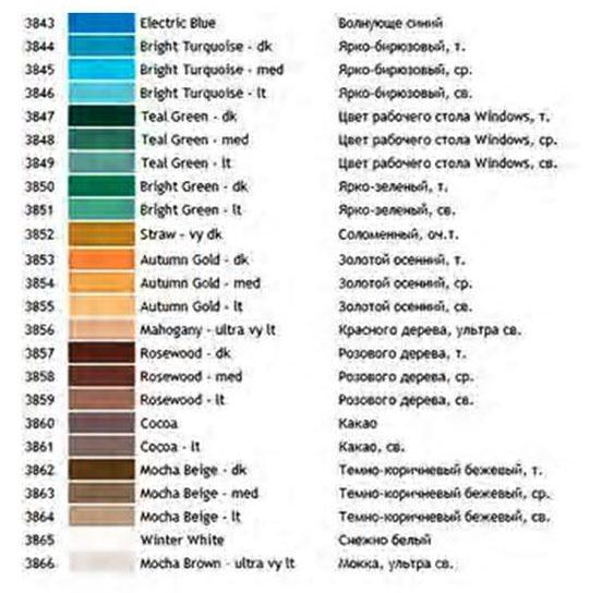 Таблица Соответствия Мулине С Цветом