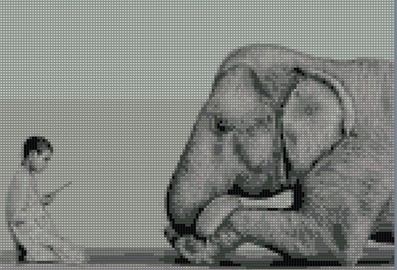 образец вышивки Слон и мальчик