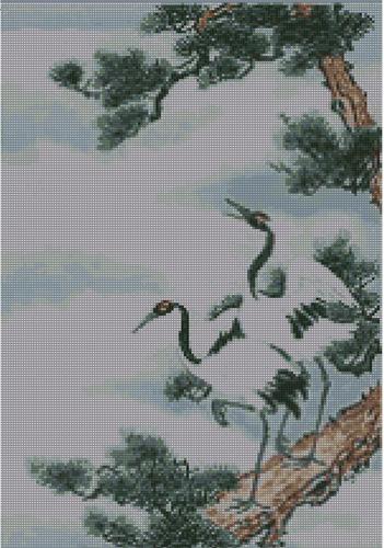 Вышивка Два журавля на сосне